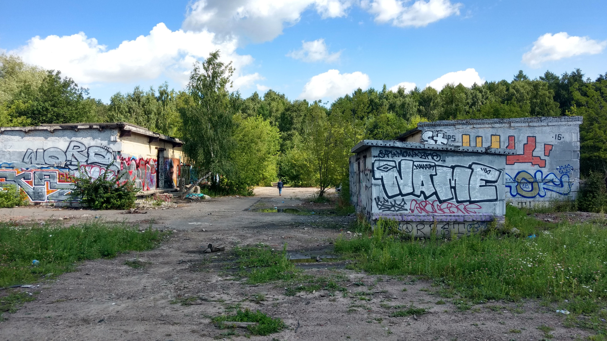 Outside the belokamennaya station in the elk island national park, some abandoned building with grafity