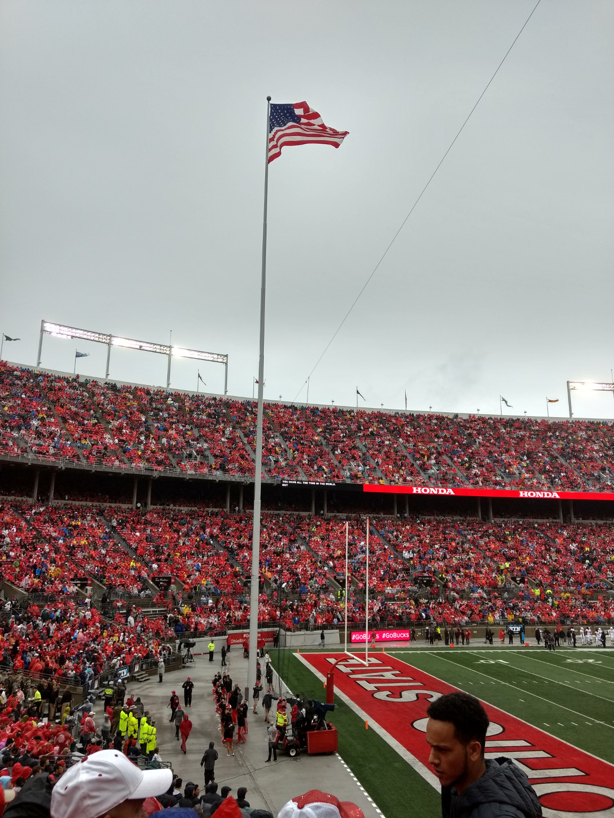 The flag of the USA in Ohio Stadium