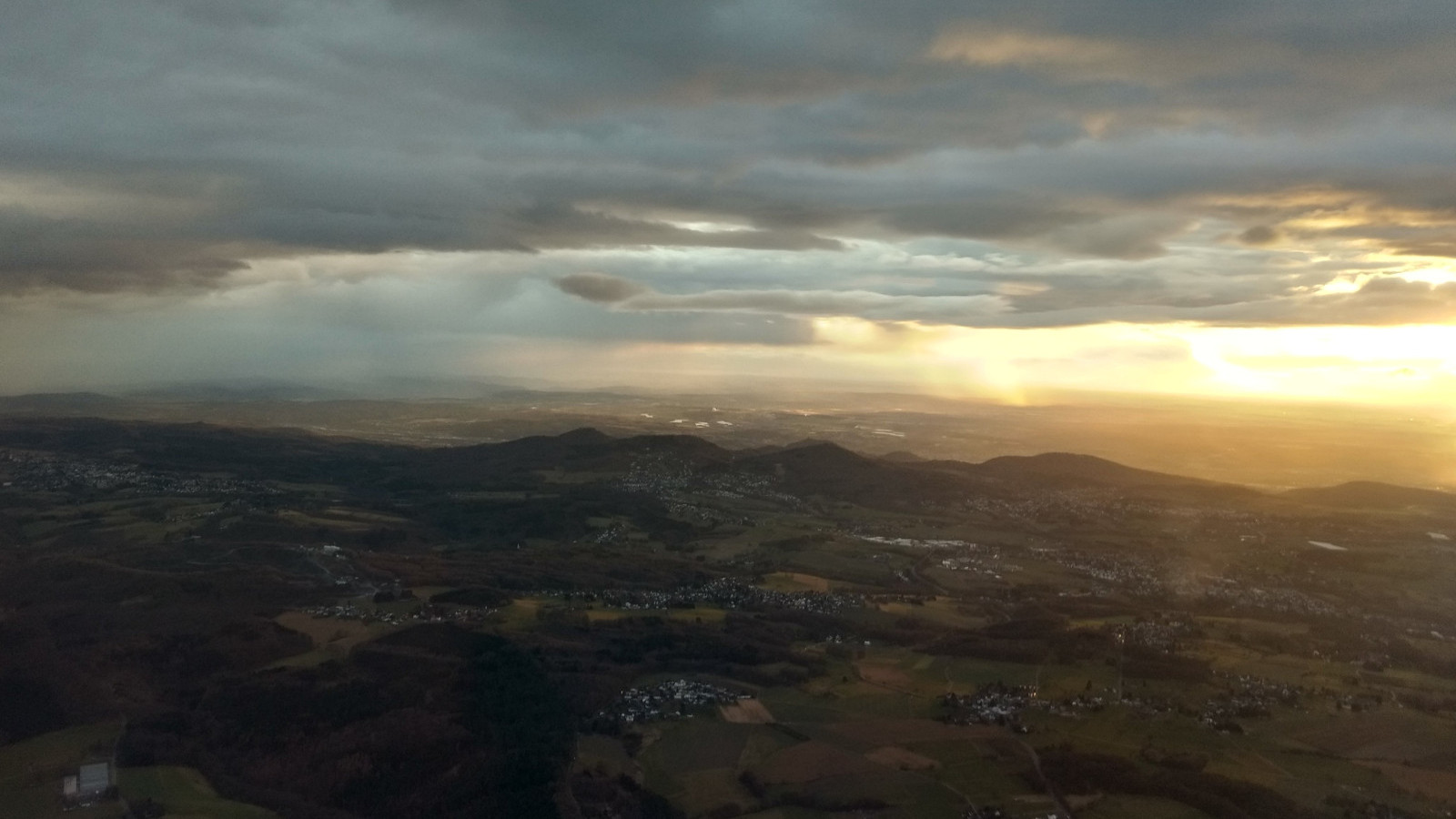 Dusk over Dublin out of an airplane