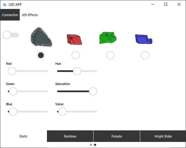 Software zur Steuerung des LED Streifens: Schalten einzelner LEDs