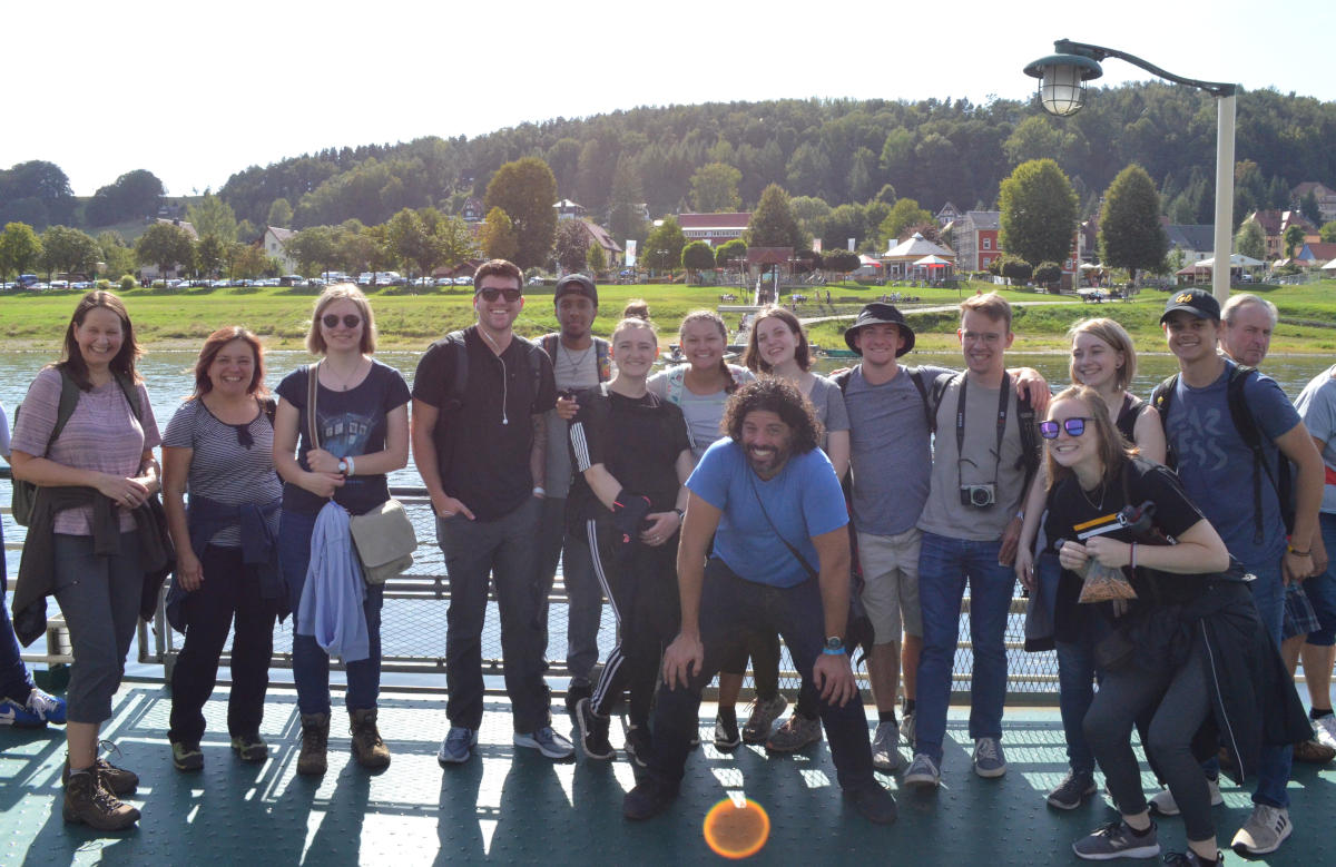 A part of the group on a ferry in the Saxon Switzerland
